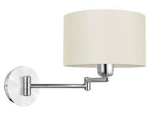 Eglo US 88563A - 1x60W Wall Light w/ Brushed Aluminum & Chrome Finish & White Fabric Shade