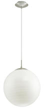 Eglo US 90009A - 1x100W Pendant w/ Chrome Finish & Hand Brushed White Glass