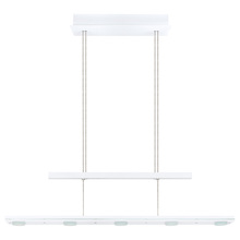 Eglo US 91076A - 5X4.8WLED  Linear Adjustable Pendant w/ Gloss White finish & Satin Glass