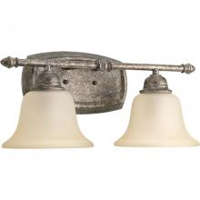 Progress P2136-144 - Two-light bath and vanity fixture in a refreshing pebbles finish and a light umber glass shade. Part