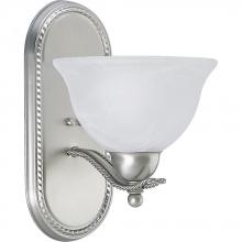 Progress P3266-09 - One Light Brushed Nickel Alabaster Glass Bathroom Sconce