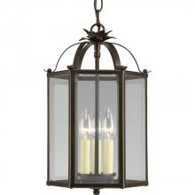 Progress P3645-20 - Three Light Antique Bronze Clear Flat Glass Framed Glass Foyer Hall Fixture