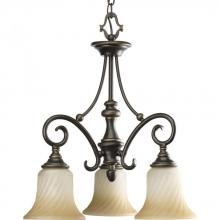 Progress P4158-77 - Three Light Forged Bronze Frosted Caramel Swirl Glass Down Chandelier