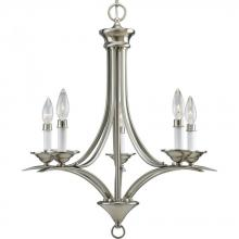 Progress P4327-09 - Five Light Brushed Nickel White Finish Candle Sleeves Glass Up Chandelier