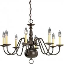 Progress P4357-20 - Eight Light Antique Bronze Ivory Finish Candle Sleeves Glass Up Chandelier