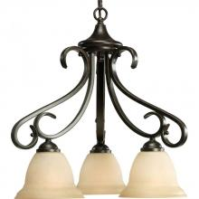 Progress P4405-77 - Three Light Forged Bronze Tea-stained Glass Down Chandelier