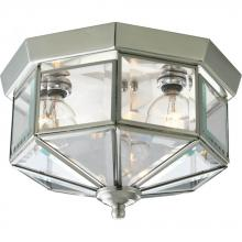 Progress P5788-09 - Three Light Brushed Nickel Clear Beveled Glass Outdoor Flush Mount